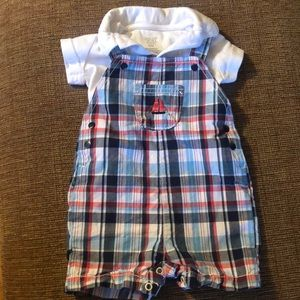 White collared onesie with plaid overall shorts